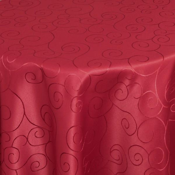 Tischdecken Damast Rund mit Saum Ornamente Wein-Rot