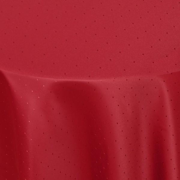 Tischdecken Damast Oval mit Saum Punkte Wein-Rot