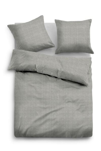 Bettwäsche Tom Tailor Melange-Flanell mit Nadelstreifen in Grau