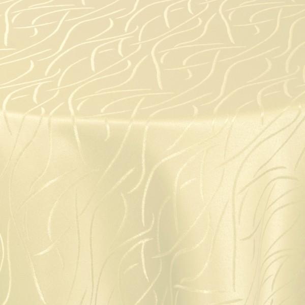 Tischdecken Damast Rund mit Saum Streifen Creme-Beige