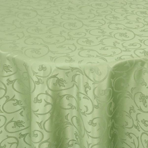 Tischdecken Damast Oval mit Saum Barock Lind-Grün