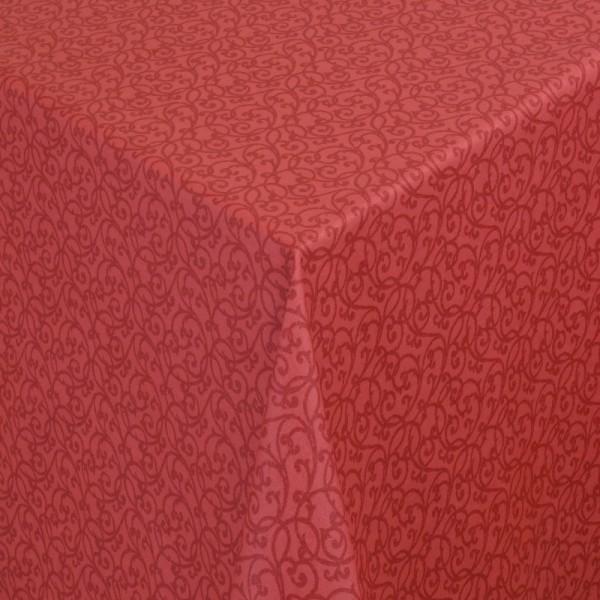 Tischdecken Pesaro 100% Baumwolle Ranken in Rot mit Fleckschutz