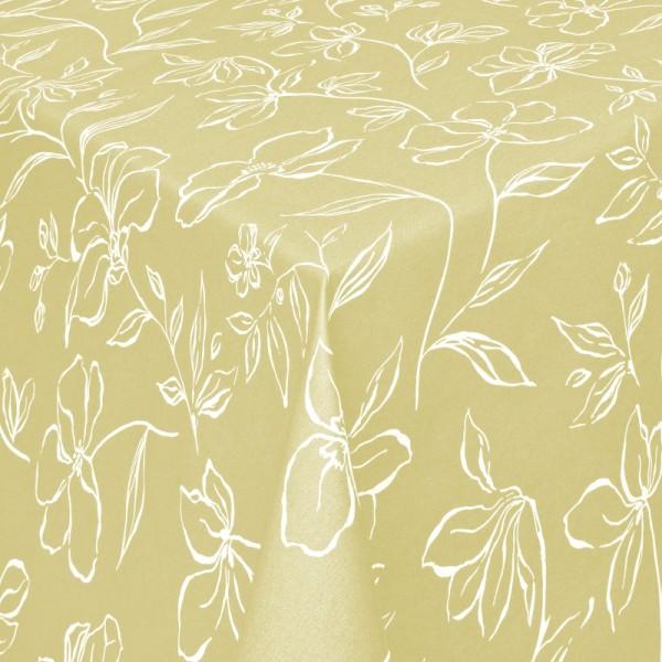 Tischdecken Ferrara Jaquard-Gewebe in Oliv-Grün mit Fleckschutz
