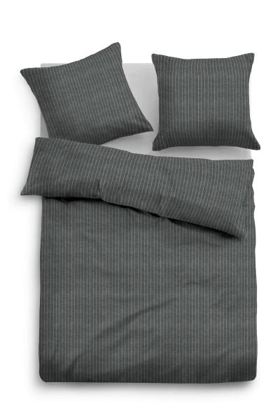 Bettwäsche Tom Tailor Melange-Flanell mit Nadelstreifen in Dunkel-Grau