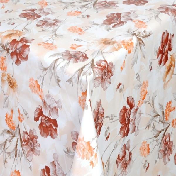 Tischdecke Abwaschbar Wachstuch Blumen Motiv Grau Orange im Wunschmaß