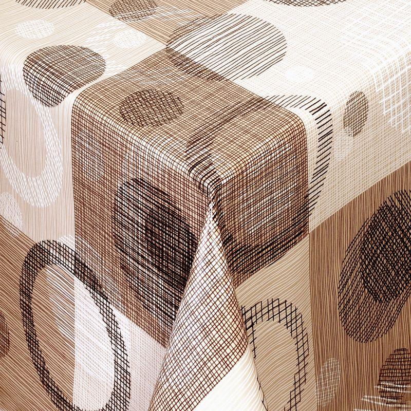 tischdecke abwaschbar wachstuch kreise motiv beige braun im wunschma. Black Bedroom Furniture Sets. Home Design Ideas