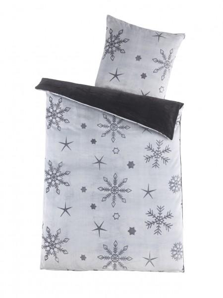 "Bettwäsche OptiDream Cashmere/Sherpa ""Snowflake"" 2tlg. 135x200 cm in Grau"