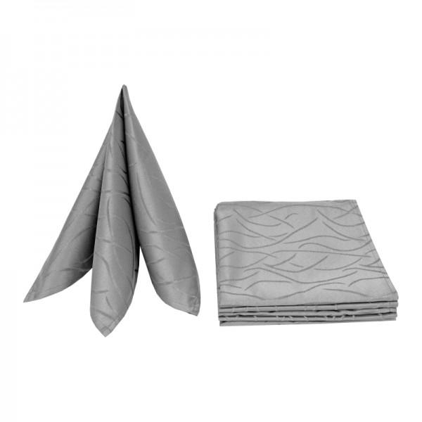 Servietten Damast Streifen 50x50 Grau (6er Pack)