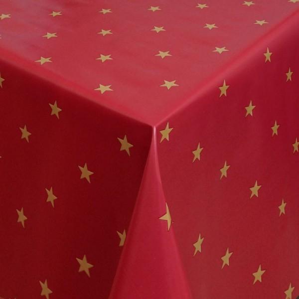Tischdecke Abwaschbar Wachstuch Weihnachten mit Sternen Rot-Gold