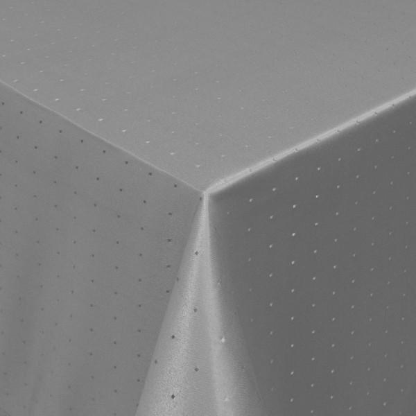 Tischdecken Damast Eckig mit Saum Punkte Grau