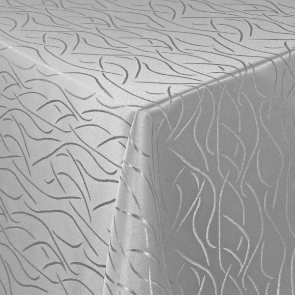 Tischdecken Damast Eckig mit Saum Streifen Grau