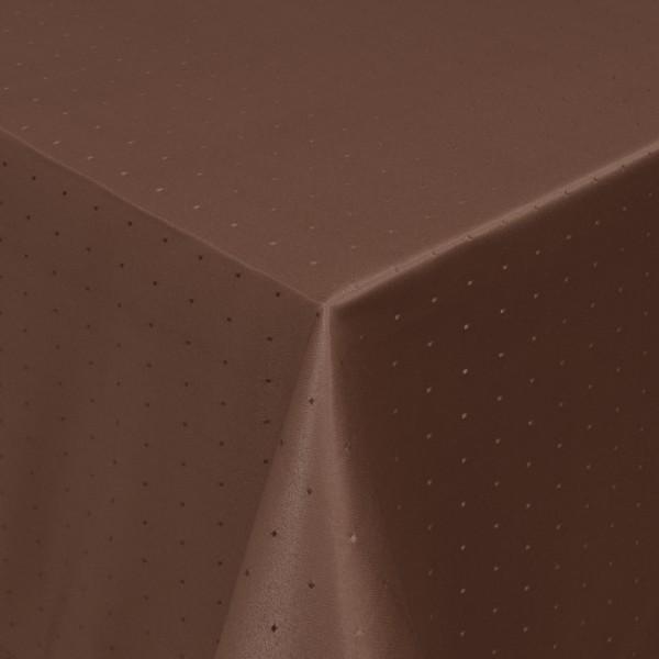 Tischdecken Damast Eckig mit Saum Punkte Dunkel-Braun