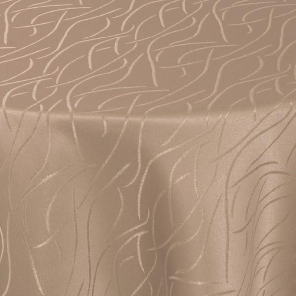 Tischdecken Damast Rund mit Saum Streifen Hell-Braun