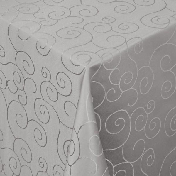 Tischdecken Damast Eckig mit Saum Ornamente Grau