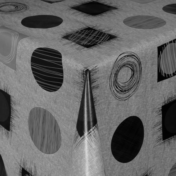 Tischdecke Abwaschbar Wachstuch Kreise und Quadrate Schwarz im Wunschmaß
