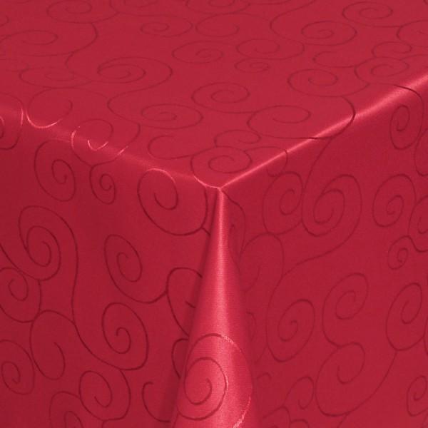 Tischdecken Damast Eckig mit Saum Ornamente Wein-Rot