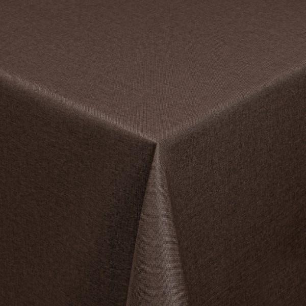 Tischdecken Damast Eckig mit Saum Leinen-Optik Dunkel-Braun