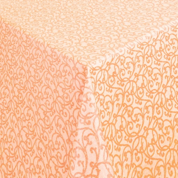 Tischdecken Pesaro 100% Baumwolle Ranken in Terra-Orange mit Fleckschutz