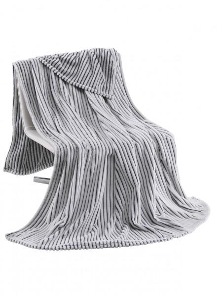 Kuscheldecke Flanell Cord Decke 150x200 cm in Silbergrau