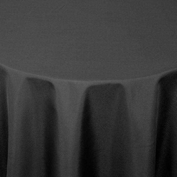 Tischdecken Damast Rund mit Saum Uni Schwarz
