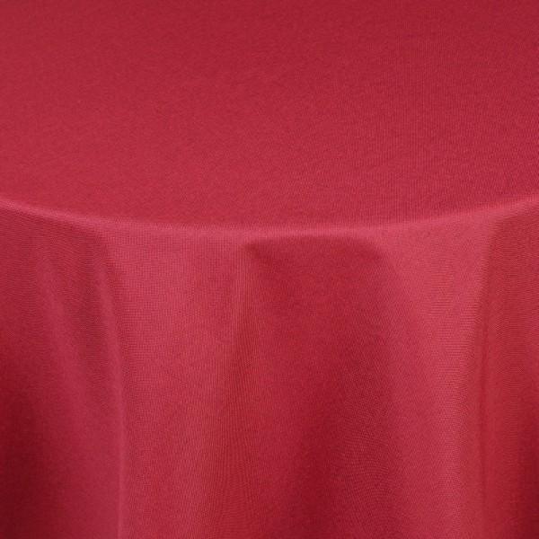 Tischdecken Damast Rund mit Saum Leinen-Optik Wein-Rot