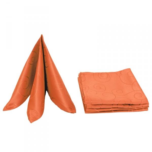 Servietten Damast Ornamente 50x50 Orange (6er Pack)