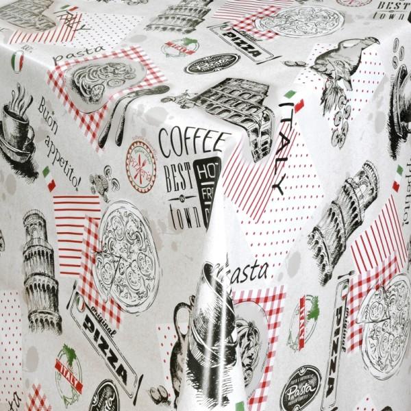 Tischdecke Abwaschbar Wachstuch Pizzaria Motiv Italia im Wunschmaß