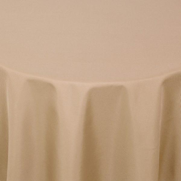 Tischdecken Damast Rund mit Saum Uni Hell-Braun