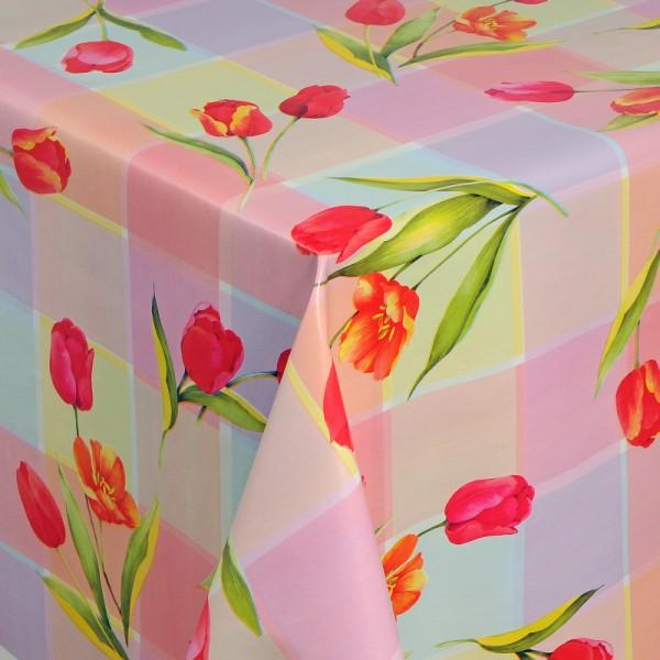Tischdecke Abwaschbar Wachstuch Tulpen Motiv Rosa im Wunschmaß