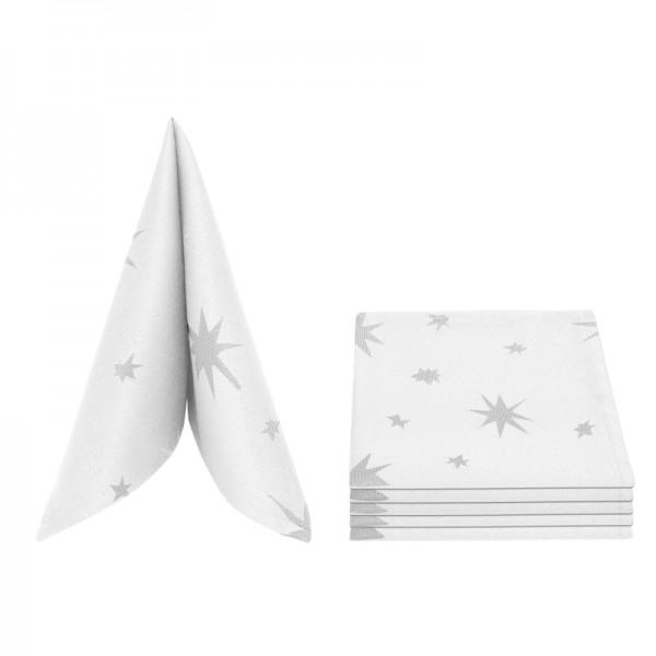Servietten Damast Lurex 50x50 Weiss-Silber (6er Pack)