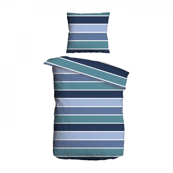 Bettwäsche 2tlg. 135x200 Renforce Streifen Blau