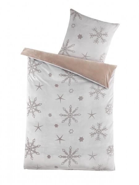 """Bettwäsche OptiDream Cashmere/Sherpa """"Snowflake"""" 2tlg. 135x200 cm in Creme"""
