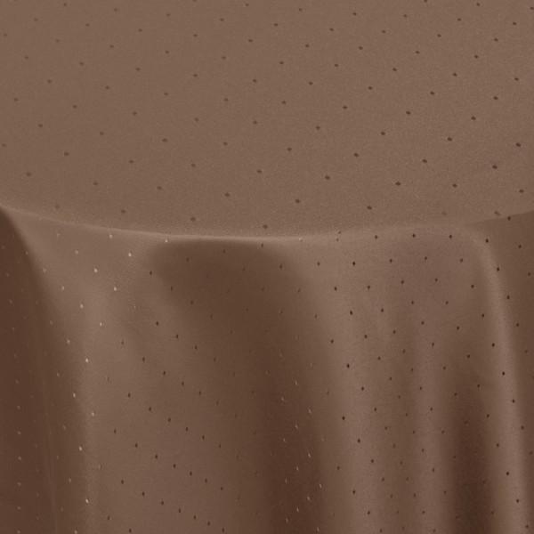 Tischdecken Damast Rund mit Saum Punkte Dunkel-Braun