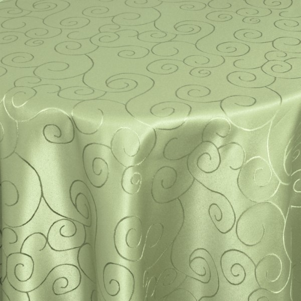 Tischdecken Damast Oval mit Saum Ornamente Lind-Grün