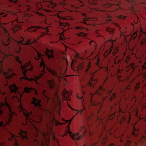Tischdecke Abwaschbar Wachstuch Relief Ranken Motiv Rot im Wunschmaß