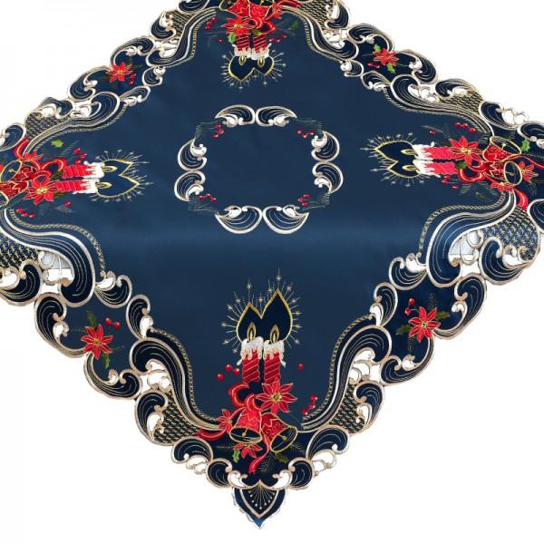 Tischdecke Mitteldecke Aufleger mit Stickerei in Blau