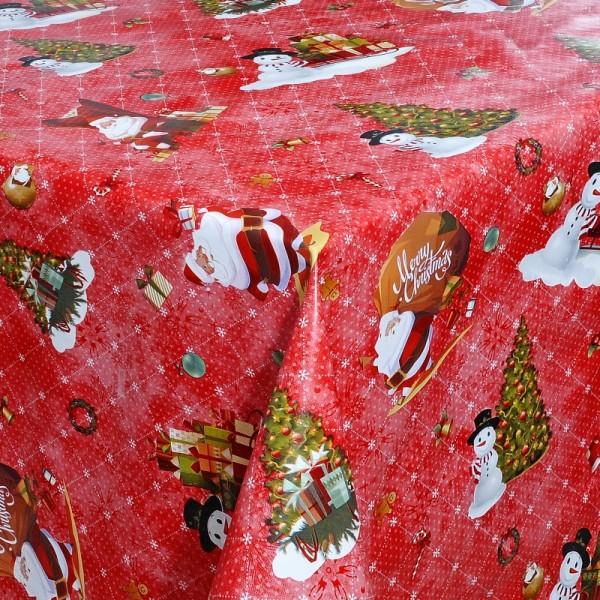 Tischdecke Abwaschbar Wachstuch Weihnachten Schneemann Motiv Rot