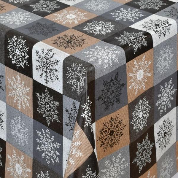 Tischdecke Abwaschbar Wachstuch Weihnachten Schneekristalle Braun-Grau