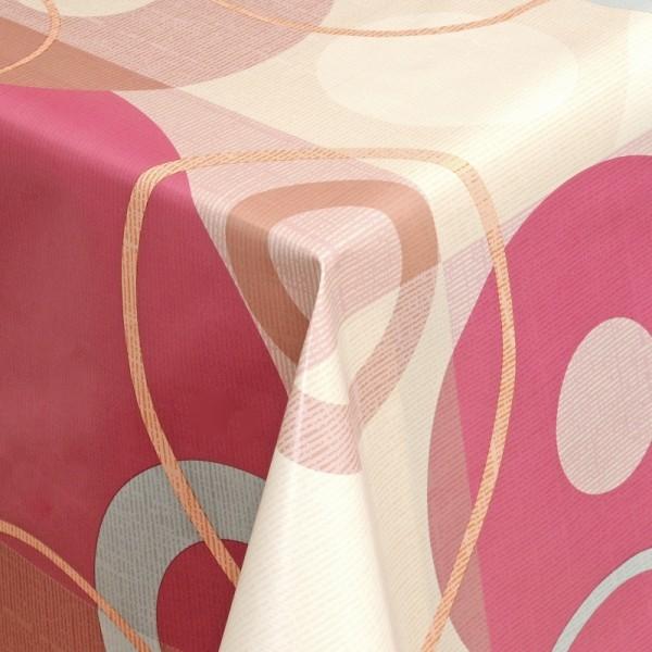 Tischdecke Abwaschbar Wachstuch Retro Motiv Pink Beige im Wunschmaß