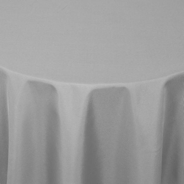 Tischdecken Damast Rund mit Saum Uni Grau