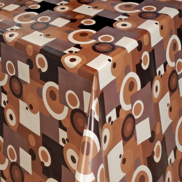 Tischdecke Abwaschbar Wachstuch Retro Motiv Braun Schwarz im Wunschmaß