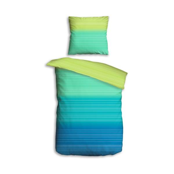 Bettwäsche 2tlg. 135x200 Softtouch Rainbow Aqua Kiwi