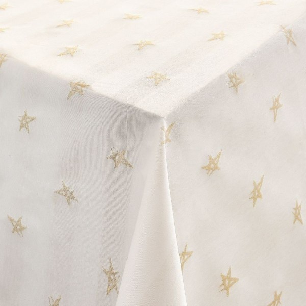 Tischdecken Jacquard-Gewebe mit Glanzeffekt und Fleckschutz Lurex Sterne Creme
