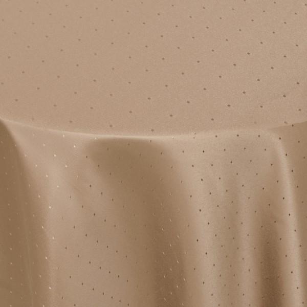 Tischdecken Damast Oval mit Saum Punkte Hell-Braun