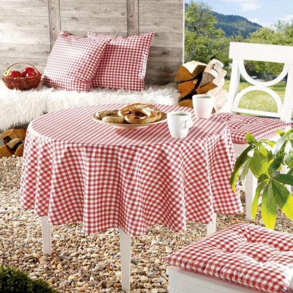 Tischdecken Landhaus 100% Baumwolle Rot-Weiss kariert mit Fleckschutz