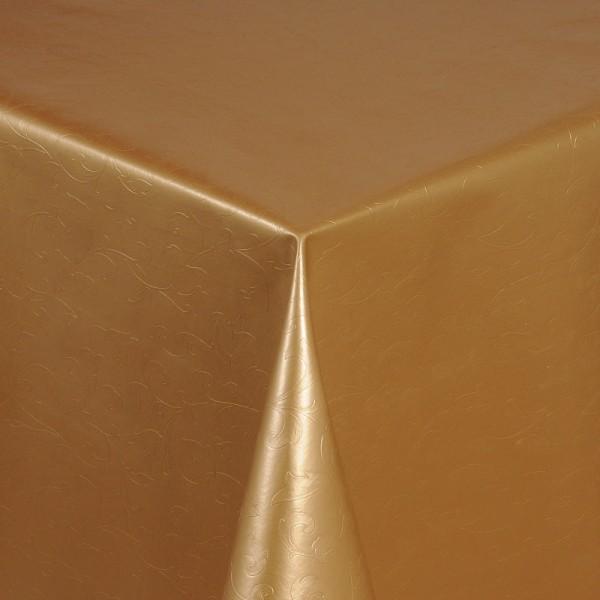 Tischdecke Abwaschbar Wachstuch Relief Blumenkelche Gold im Wunschmaß