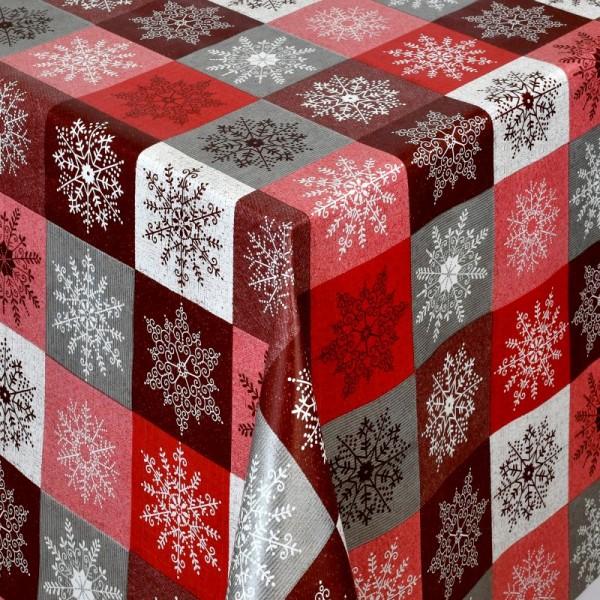 Tischdecke Abwaschbar Wachstuch Weihnachten Schneekristalle Rot-Grau