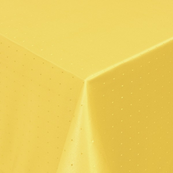 Tischdecken Damast Eckig mit Saum Punkte Dunkel-Gelb
