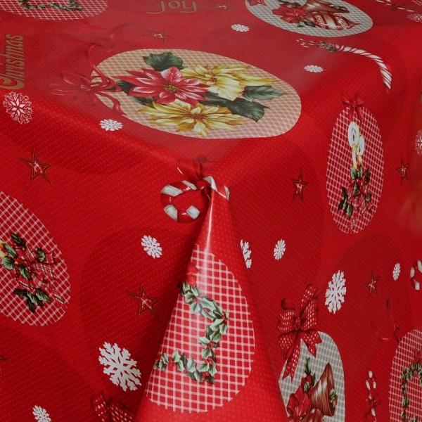 Tischdecke Abwaschbar Wachstuch Weihnachten mit Glöckchen im Wunschmaß