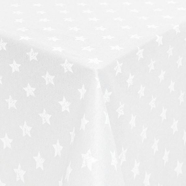 Tischdecken Jacquard-Gewebe mit Fleckschutz und Saum Sterne in Weiss